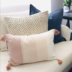 Hearth and hand pink tassel pillow new